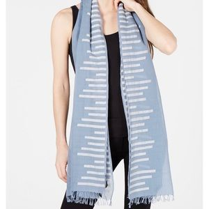 Eileen Fisher Organic Cotton Striped Scarf Fringe